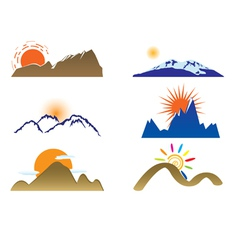 Mount and sun vector