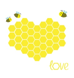 Yellow honeycomb set in shape of heart beehive vector