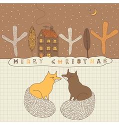 Retro Fox Christmas Card vector image