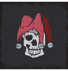 skull in jester cap grunge design template vector image
