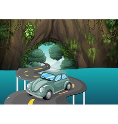 A curve road passing through the cave vector image vector image