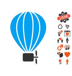 Aerostat balloon icon with valentine bonus vector