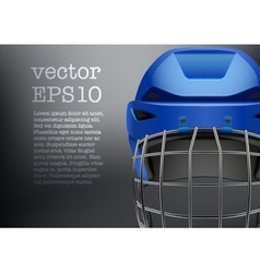 Background of classic blue ice hockey helmet vector