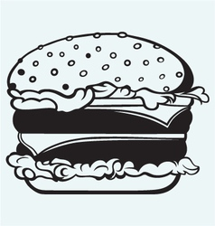 Big and tasty hamburger vector image vector image