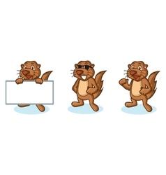 Brown sea otter mascot happy vector