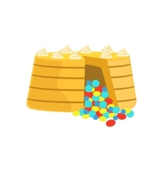 Cake with colorful chocolate candy inside vector
