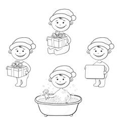 Cartoon children in Santa hat outline vector image
