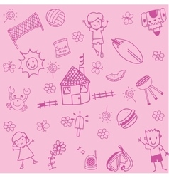 Child drawing doodle set holiday vector
