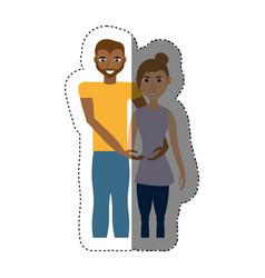 Couple romantic mixed race shadow vector