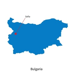 Detailed map of bulgaria and capital city sofia vector