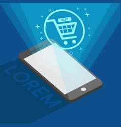 Easy shopping online by your phone vector