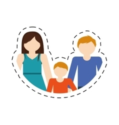 Family mom dad and son together members cut line vector