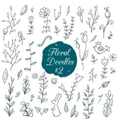 Floral doodle set vector image