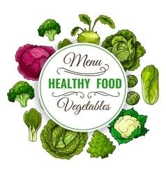 Healthy vegetable food poster vegetarian menu vector
