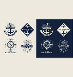 inspirational themplate of nautical style logo vector image