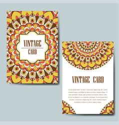 Invitation card with mandala decorative ornament vector
