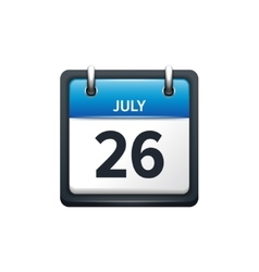 July 26 calendar icon flat vector