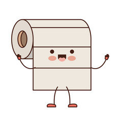 kawaii cartoon roll paper towel in colorful vector image vector image
