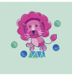 Kiddy pink circus lion vector