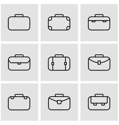 line briefcase icon set vector image