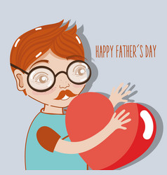 Man celebrating father day with heart in the hands vector