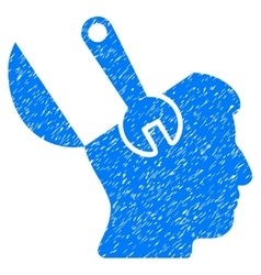 Mind wrench surgery grainy texture icon vector
