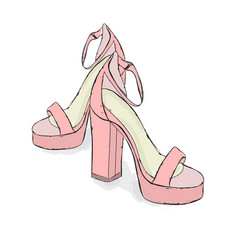 model sandals hand draw on a white background vector image