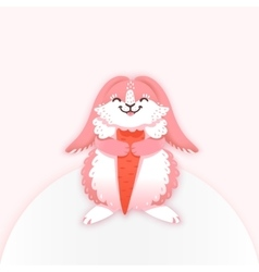 Rabbit cartoon eating a carrot funny bunny cute vector