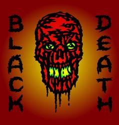 Red skull is bleeding black death vector