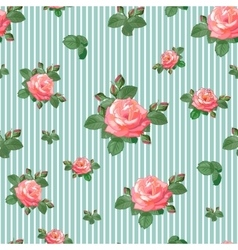 Seamless Pattern with Roses in Retro Style vector image vector image