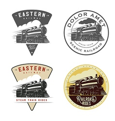 Set of vintage retro railroad steam train logos vector