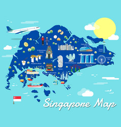 singapore map with colorful landmarks design vector image