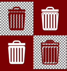 trash sign bordo and white vector image