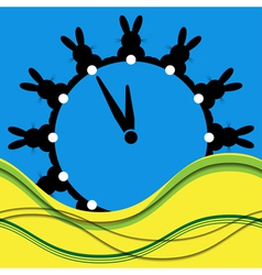 Twelve black bunnies as wall clocks vector