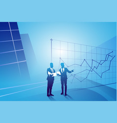 two silhouette businessman talking discussing vector image vector image