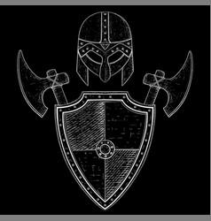 viking warrior set - shield axes and helmet hand vector image vector image