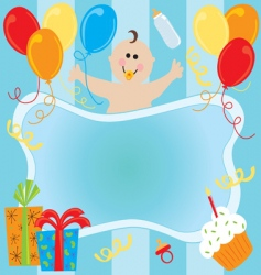 Baby boy birthday invitation vector