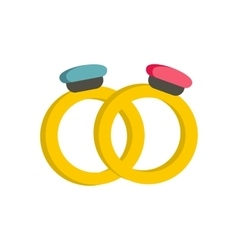 Engagement rings icon flat style vector
