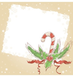 Christmas hand drawn postcard with candy cane vector
