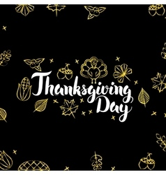 Thanksgiving Day Gold Black Postcard vector image