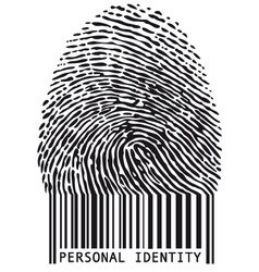 fingerprint with bar code vector image