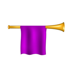 Trumpet with purple flag vector