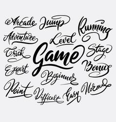 Game and bonus hand written typography vector