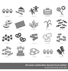 Dessert food icon set vector