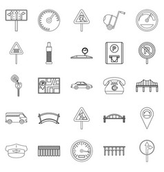 Pavement icons set outline style vector