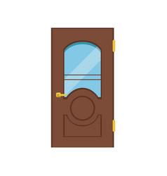 Classic wooden door with glass closed elegant vector
