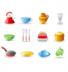 kitchen utensil icon set vector image