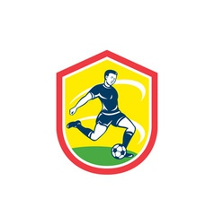 Soccer player kicking ball retro vector