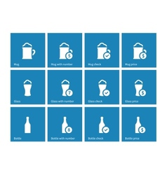 Bottle and glass of beer icons on blue background vector