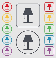 Lamp icon sign symbols on the round and square vector